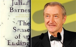 Julian Barnes e a capa de seu livro The Sense of an Ending. Imagem publicado no site The Telegraph.